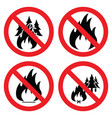 collection of no forest fire icons vector image vector image