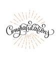 congratulations calligraphy hand written vector image