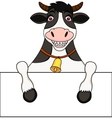 Cow with blank sign vector image vector image