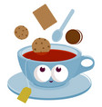 cup tea and cookies dunking into tea vector image
