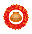 diwaly ceramic pot decoration icon vector image vector image