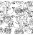 elegant seamless pattern with ranunculus flowers vector image vector image