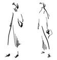 fashion girls sketch vector image vector image
