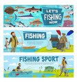 fishing sport and fishery leisure activity vector image vector image