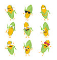 funny corn - isolated cartoon emoticons vector image