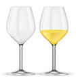 glass of white wine empty and full vector image