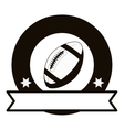 gray scale emblem with football ball and ribbon vector image
