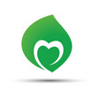 green leaf with heart shape inside icon concept vector image vector image