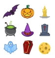 Halloween cartoon icon objects vector image vector image