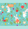 happy easter seamless pattern with various rabbits vector image