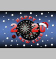 happy new year 2020 and dartboard vector image vector image