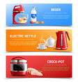 household appliances horizontal banners vector image vector image