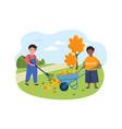 kids doing housework chores raking falling leaves