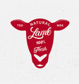 lamb logo label print poster for butcher shop vector image