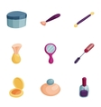 Makeup icons set cartoon style vector image
