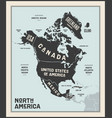 map north america poster map north america vector image vector image