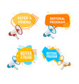 refer a friend concept label with abstract memphis vector image vector image