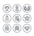 rewards and prizes line icons on white vector image vector image