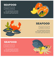 seafood fresh fish menu web banners design vector image