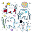 set a cheerful tooth with a toothbrush and a sad vector image
