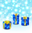 Set blue gift boxes with yellow bows vector image vector image