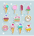 set ice cream and candy stickers vector image