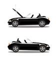 set of broken cartoon black cabriolet sport car vector image