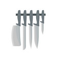set of kitchen knives instrument with sharp metal vector image