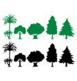 set silhouette tree vector image