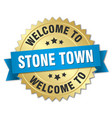 stone town 3d gold badge with blue ribbon vector image vector image