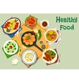 Tasty healthy dishes icon for food theme design vector image vector image