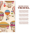 travel banner with vintage bright hot air balloons vector image vector image