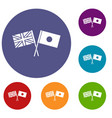 uk and japan flags crossed icons set vector image vector image
