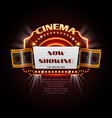 vintage cinema sign glowing movie signboard with vector image vector image