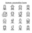 woman occupation career icon set in thin line vector image