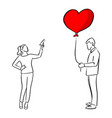 woman trying to shoot the red heart shape balloon vector image vector image