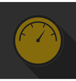 yellow round button with black dial symbol icon vector image