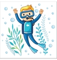 Young diver swims under water vector image