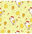 Happy Easter pattern with chicks and eggs vector image