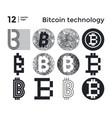 set abstract bitcoin technology vector image
