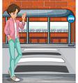A young boy near the bus stop vector image vector image