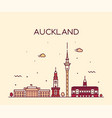 auckland city skyline new zealand linear vector image vector image