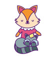 bashower cute little female fox and raccoon vector image vector image