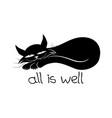 black cat sleeping vector image vector image