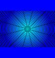black spider web on blue background vector image