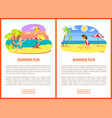 Boy and girl on beach summer fun poster