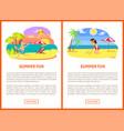 boy and girl on beach summer fun poster vector image vector image