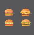 burger cartoon fast food set cheeseburger and vector image