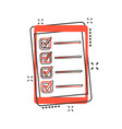 cartoon checklist with tablet icon in comic style vector image vector image
