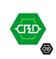 cbd molecule logo tech symbol of cannabidiol vector image vector image